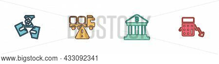 Set Tearing Money Banknote, Stop Delivery Cargo Truck, Bank Building And Calculation Of Expenses Ico