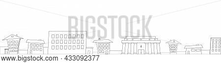 Crooked Fairy Houses City Skyline Outline For Footer On White. Vector Illustration.