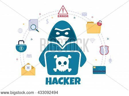 Hacker Using Computer Server To Activity Hacked Database, Network Storage, Social Account, Credit Ca