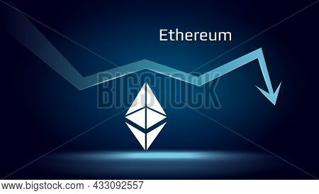 Ethereum Eth In Downtrend And Price Falls Down. Crypto Coin Symbol And Down Arrow. Uniswap Crushed A