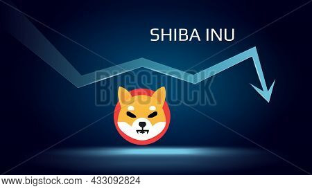 Shiba Inu Shib In Downtrend And Price Falls Down. Crypto Coin Symbol And Down Arrow. Uniswap Crushed