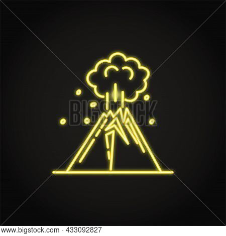 Neon Volcano Eruption Icon In Line Style