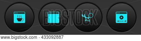 Set Software, Browser Window, Debugging And Online Play Video Icon. Vector