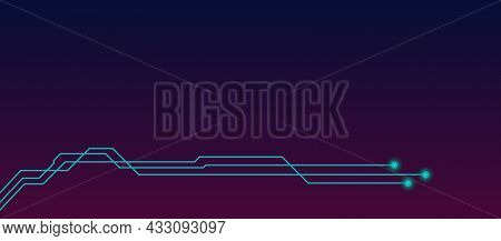 Social Media Header Template With Blue Pcb Tracks And Copy Space On Dark Gradient. Social Cover Or B