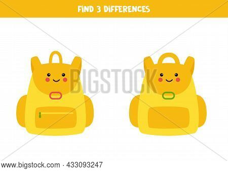 Find Three Differences Between Two Pictures Of Cute Rucksack.