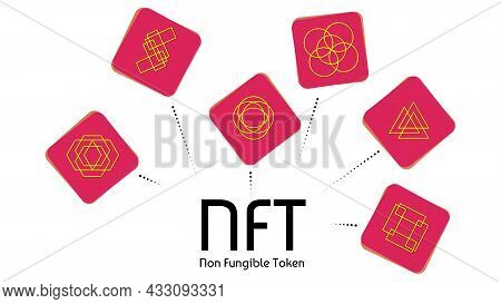 Nft Non Fungible Colored Tokens Infographics Isolated On White. Pay For Unique Collectibles In Games
