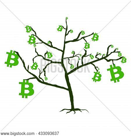 Tree With Leaves From Bitcoins Isolated White. Bitcoin Growth Concept. Vector Illustration.