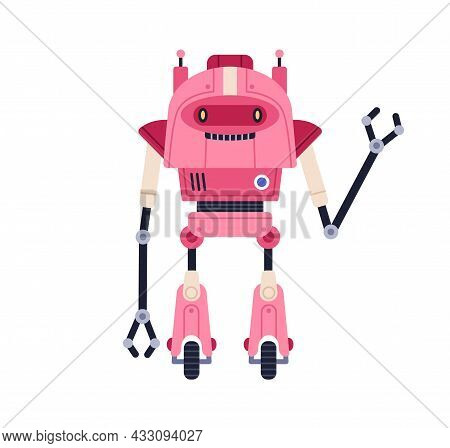 Cute Childish Robot Toy. Funny Childrens Bot With Happy Face, Gesturing Hi. Portrait Of Humanoid Cyb