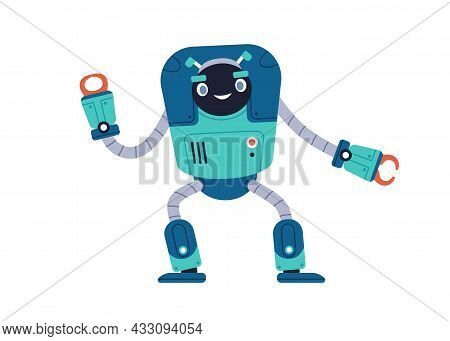 Cute Happy Robot Toy. Funny Child Bot With Smiling Face. Kids Adorable Humanoid Cyborg. Retro Metal