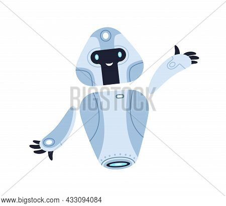 Cute Childish Metal Robot Toy Gesturing Hi. Happy Funny Kids Bot With Smiling Face. Portrait Of Ador