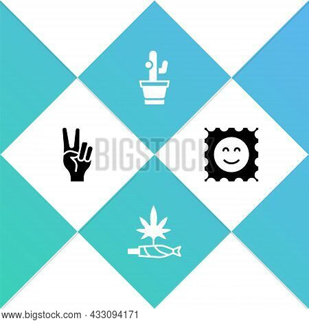 Set Peace Symbol, Marijuana Joint, Spliff, Cactus And Lsd Acid Mark Icon. Vector