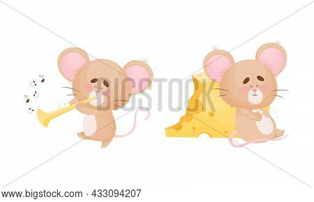 Cute Mouse Character As Small Rodent Playing Flute And Sitting Overeating With Cheese Vector Set