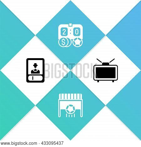 Set Football Or Soccer Card, Goal With, Betting Money And Match Tv Icon. Vector