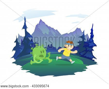A Boy Runner Running Away From A Coronavirus. Forest And Mountain Landscape In The Background. Healt