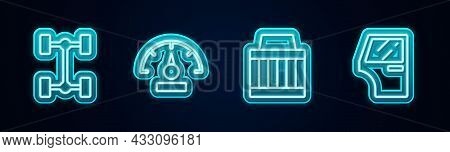 Set Line Chassis Car, Speedometer, Car Air Filter And Door. Glowing Neon Icon. Vector