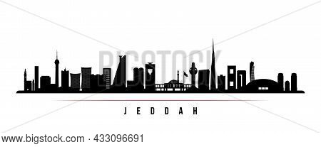 Jeddah Skyline Horizontal Banner. Black And White Silhouette Of Jeddah, Saudi Arabia. Vector Templat