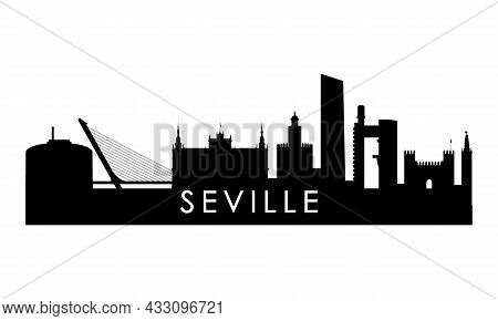 Sevilla Skyline Silhouette. Black Sevilla City Design Isolated On White Background.
