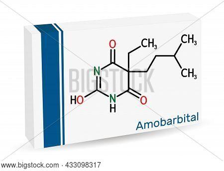 Amobarbital, Amylobarbitone, Sodium Amytal Drug Molecule. It Is Barbiturate Derivative With Hypnotic