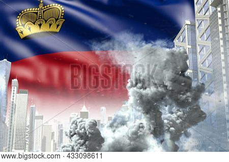 Big Smoke Column In Abstract City - Concept Of Industrial Accident Or Terroristic Act On Liechtenste