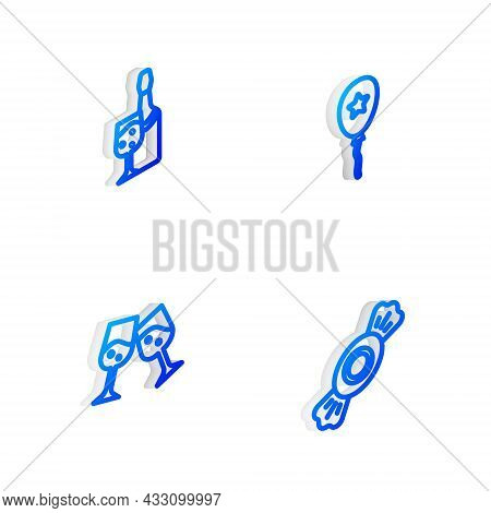 Set Isometric Line Balloon With Ribbon, Champagne Bottle, Glass Of Champagne And Candy Icon. Vector
