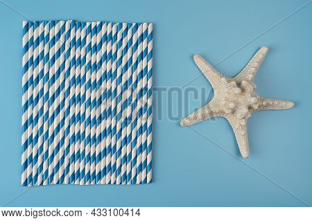 Drinking Straws On Blue Background. Top View Of Colorful Paper Disposable Eco-friendly Straws For Su