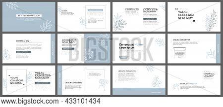 Presentation And Slide Layout Background. Design Blue Pastel Leaves Template. Use For Business Keyno