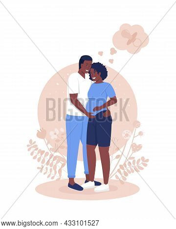Expecting Parents 2d Vector Isolated Illustration. Happy Pregnant Woman With Husband. Anticipating C