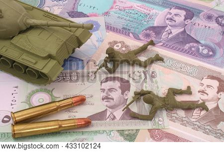 Currency From Iraq With Bullets And Plastic Soldiers, Tank