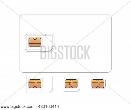 Mobile Phone Gsm Sim Card With Standard, Micro And Nano Emv Chip Set. Plastic Card Blank Realistic M