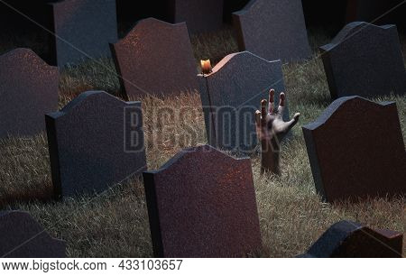 Zombie Hand Coming Out Of The Ground In A Graveyard Full Of Gravestones. 3d Rendering