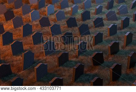 Gravestone Pattern In A Cemetery With Warm Lighting. 3d Rendering