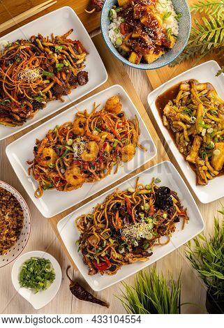 Various Of Asian Meals, Top View. Asian Food Concept.