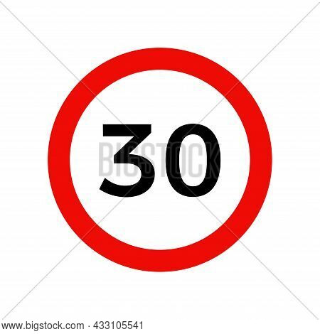 Speed Limit 30 Kmh Sign Of Road Traffic