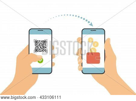Flat Design Illustration Of Hand Holding Mobile Phone. Scan Qr Code And Pay Online Payment By Smartp