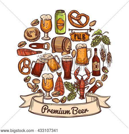 Premium Beer Concept Sketch With Jugs Can Opener Bottle Cask Cap Snacks Hops Nuts Crayfish And Shrim