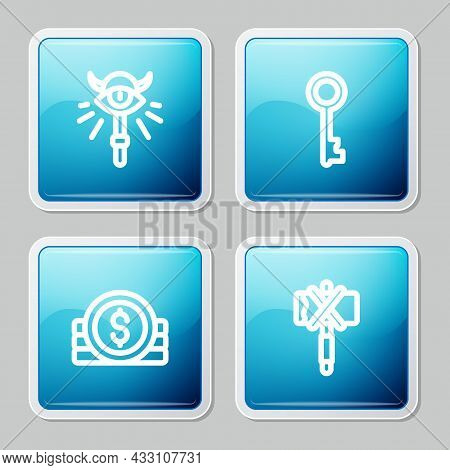 Set Line Magic Staff, Old Key, Ancient Coin And Medieval Axe Icon. Vector
