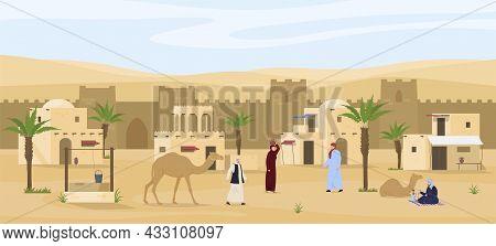 Middle Eastern Cityscape Scene Vector Flat Illustration. Man Smoking Hookah, Camel. Desert Landscape