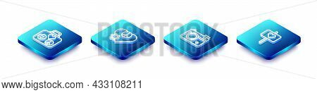 Set Isometric Line Suitcase For Travel, Love Peace, Photo Camera And Peace Icon. Vector