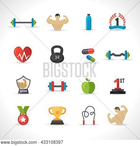 Bodybuilding Icons Flat Set With Barbell Bodybuilder Iron Isolated Vector Illustration