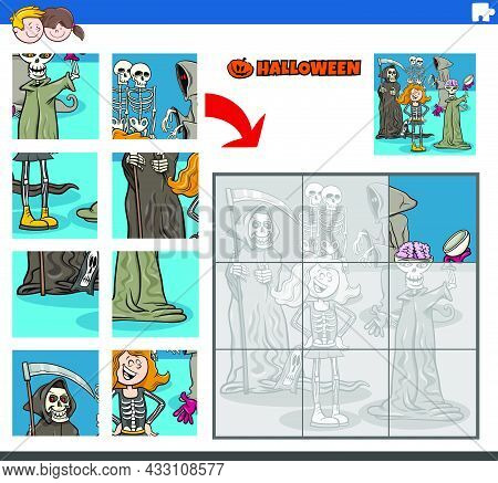 Cartoon Illustration Of Educational Jigsaw Puzzle Game For Children With Scary Haloween Characters