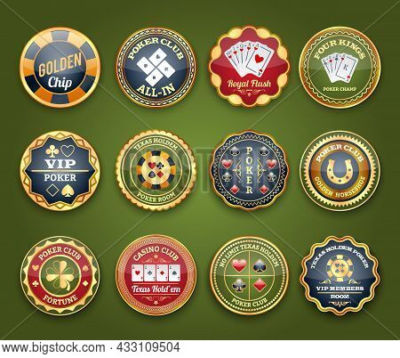 Royal Casino Club Poker Game Glossy Labels Set With Flush And Four Kings Abstract Isolated Vector Il