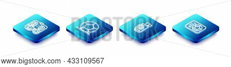 Set Isometric Line Football Betting Money, Soccer Football, Air Horn And Icon. Vector
