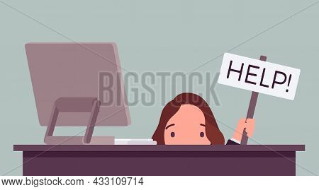 Businesswoman, Office Male Clerk Hiding Under Desk With Help Sign. Employee In Frustration, Upset, S