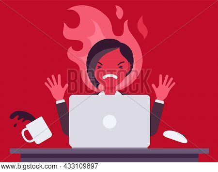 Businesswoman Working With Laptop Flamed In Anger. Burnout, Office Worker Losing Temper In Annoyance