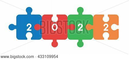 New Year 2022 Vector Concept, Connected Jigsaw Puzzle Pieces. Flat Colored Style.