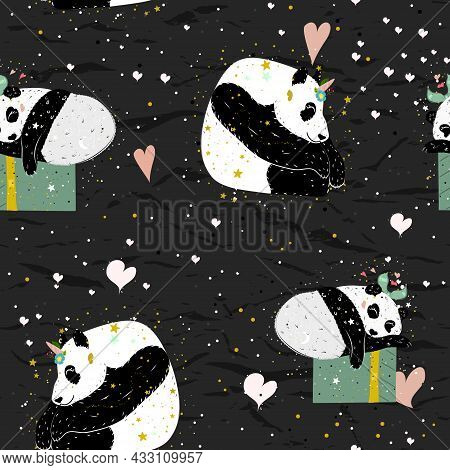 Seamless Pattern From Collection With Cute Panda Poster. Good For Wallpaper And Textile.
