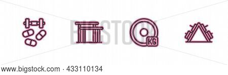 Set Line Sports Doping With Dumbbell, Weight Plate, Uneven Bars And Metal Rack Weight Icon. Vector