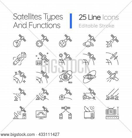 Satellites Types Linear Icons Set. Celestial Bodies Observation, Exploration Perfomance. Customizabl