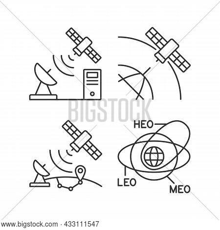 Satellite Radionavigation Linear Icons Set. Transmission Control Protocol Standarts. Satellite Orbit