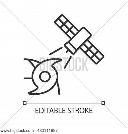 Weather, Climate Monitoring Satellite Linear Icon. Meteorological Observation. Thin Line Customizabl